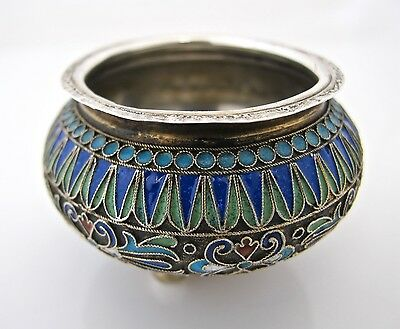 Imperial Russian silver gilt and cloisonné salt Ivan Saltykov Moscow 1887