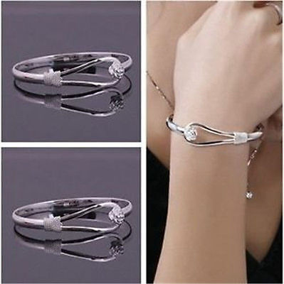 Pretty 925Solid Silver Bangle Ladies Silver Bracelet Gift Jewelry
