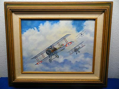 Spad WWI ? Painting French Fighter Airplane 1984 Lassiter Signed Framed