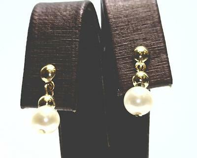14K Yellow Gold 5mm Pearl Dangle Earrings with Posts and Tension Backs. (B4625)