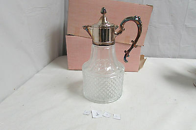 Beautiful Vintage Leonard Crystal Silver Plated Pitcher LOOK!!