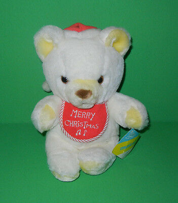 "Eden 9"" 1985 White Merry Christmas Bib Jingle Bells Musical Teddy Bear Plush NWT"