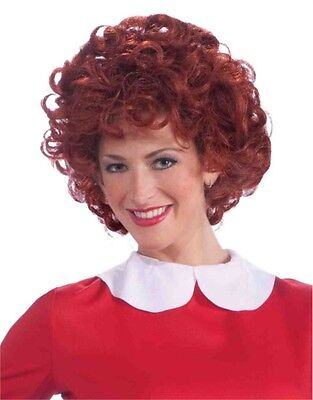 Orphan Annie Adult's Bright Red Curly Costume Dress Up Wig