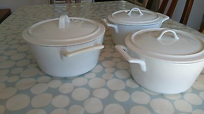 set of 3 white porcelain serving dishes