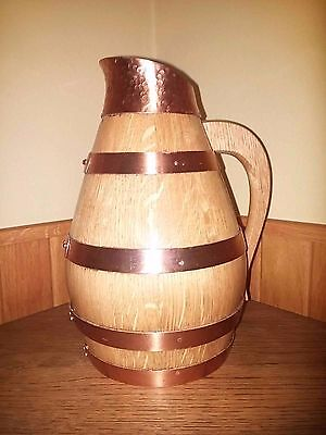 """Beer / Wine pitcher - German - Wood carved - Hand-Crafted - """"Copper bands / top"""""""