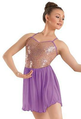 Dance Costume Large Child Lavender Taupe Lyrical Solo Competition Pageant Glitz