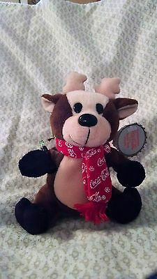 Coca-Cola Brand Collectable Bean Bag Plush Reindeer in COCA-COLA Snowflake Scarf