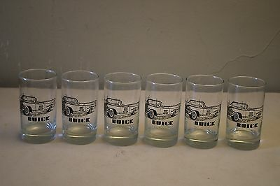 Lot Of 6 Buick Vintage Race Car Drinking Glasses