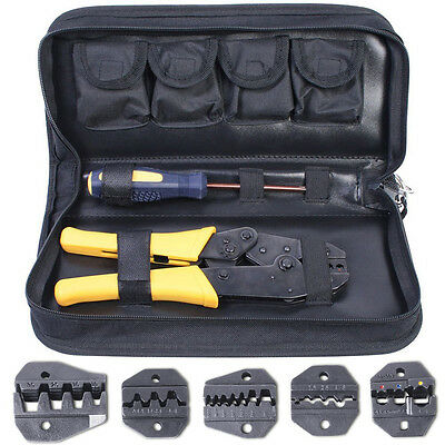Insulated Terminals Crimping Pliers Ratcheting Ferrules Crimper Tool with 5 Jaws