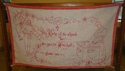 Rare Antique German Kitchen Embroidered Towel Hand Made