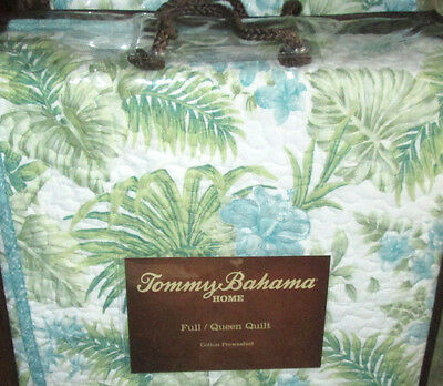 TOMMY BAHAMA Queen Quilt LAGOON BLUE and green