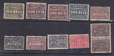 BRAZIL 9 Different Value Revenue Stamps Issued 1913 & 1920 Deposito Fiscal