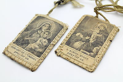 """Antique Cloth Scapular from Sisters of Carmel and St. Simon With 15"""" Cord"""
