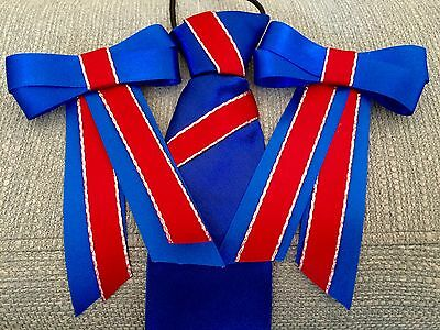 New Royal Blue & Red Show Set Tie & bows (pony, Browband, Showing, Shetland )
