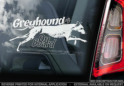 Greyhound - Car Window Sticker - Dog on Board Sign - Whippet Lurcher Racing TYP2