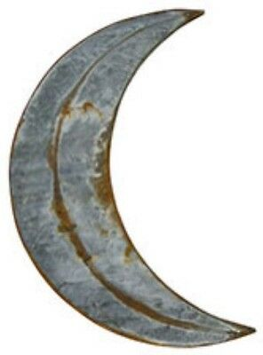 """NEW RUSTY GALVANIZED MOON 12"""" Metal Tin  Primitive Crescent Outhouse Wall Decor"""