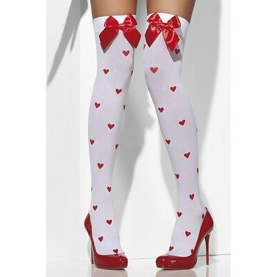 Ladies Fever Queen Hearts White Opaque Hold Ups With Red Bows Stocking Lingerie