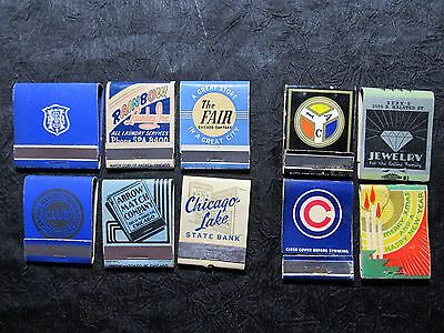 Lot 1930s 40s CHICAGO BUSINESS MATCH COVERS~Bank Jewelry Laundry+ UNUSED vtg IL