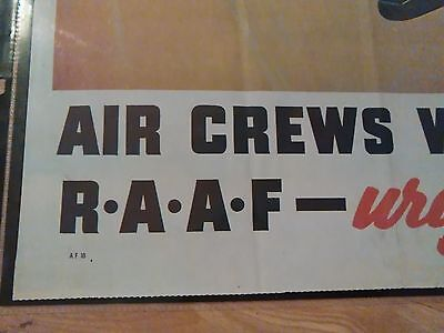 WW 11 poster On To Victory RAAF Air Crews Wanted Urgently