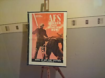 WW 11 Auxiliary Fire service Civil Defence AFS London Needs Firemen poster