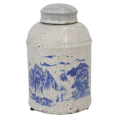 Indigo Chinoiserie Willow Terracotta Pottery Lidded Jar Ginger Jar Vessel H20cm