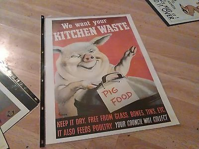 Council Pig Food Quirky Kitchen waste Retro poster WW 11  Good condition