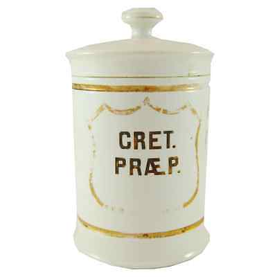 """Early French Apothecary Jar """"Cret Praep"""""""
