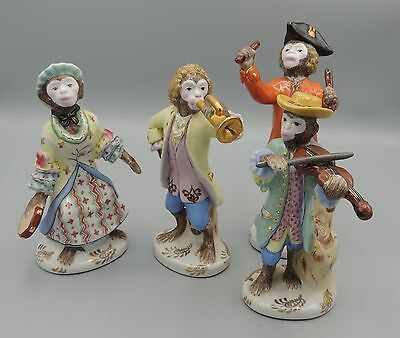4 Andrea by Sadek Monkey Band Porcelain Figurines Horn Drummer Violin Tamberine