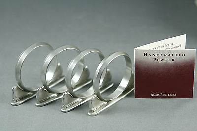 Vtg1989 Amos Pewter Napkin Rings Resting Doves Boxed Set 4 Hand Crafted Signed