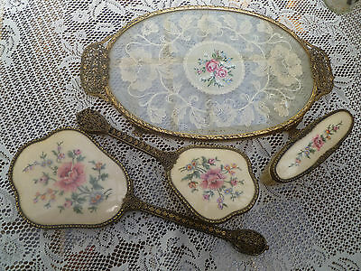 Beautiful Vintage PETIT~POINT Tapestry Dressing Table Set + OVAL tray embroidery