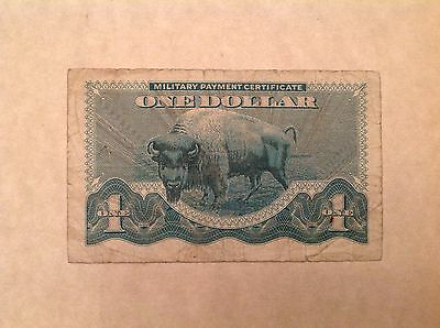 One 1 Dollar US military payment certificate  MPC Series 692 - Bison Note