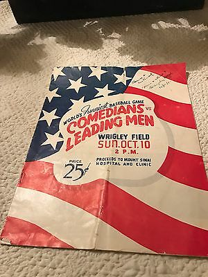 Comedians & Leading Men Wrigley Field Baseball Game 1943:  Amazing Cast! Program