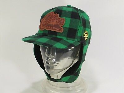 CARIBOO BREWERY GREEN PLAID HUNTER STYLE EAR FLAP HAT w STRAPS MEDIUM & AWESOME!
