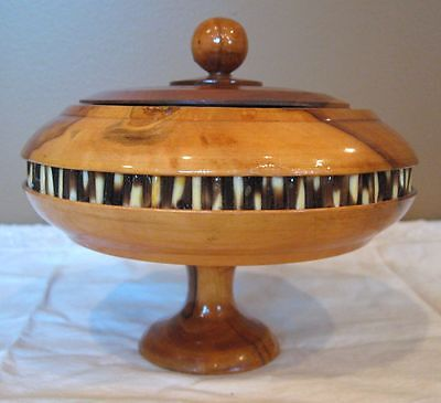 """WOOD CANDY DISH with PORCUPINE QUILL, 5"""" Tall - Round with Lid, Bowl"""