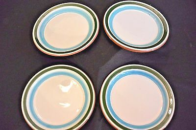 """Lot of 4 Small STANGL 5"""" Plates Green & Torquoise Bands WIth Brown Underside"""