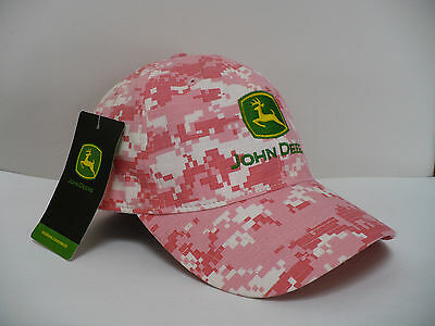 John Deere Pink White Digital Camo Hat Adjustable New With Tags