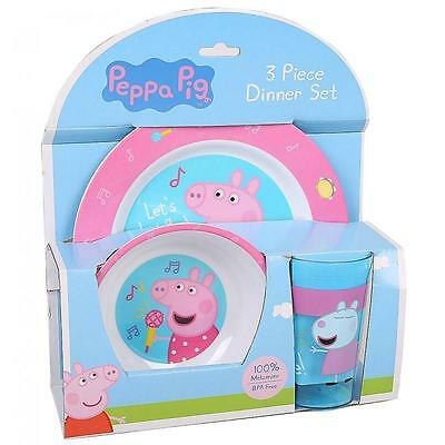 NEW Peppa Pig 3pc Dinner Set - Plate, Bowl & Cup - Pink