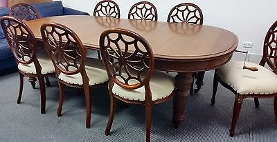 Antique Victorian Round End Rectangular Dining Table-Authentic