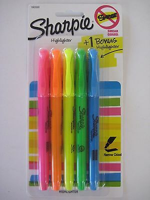 NEW SEALED 5 Sharpie Highlighters Narrow Chisel w/ Smear Guard