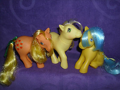 My Little Pony G1 Earth Pony Lot with Applejack, Posey and Bubbles