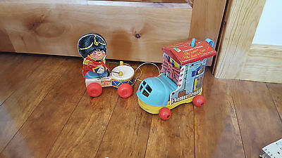 Vintage LOT of 2 Fisher Price MUSIC BOX LACING SHOE and DRUMMER BOY