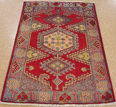 3 x 5 PERSIAN VISS TRIBAL Hand Knotted Wool REDS BLUES Oriental Rug