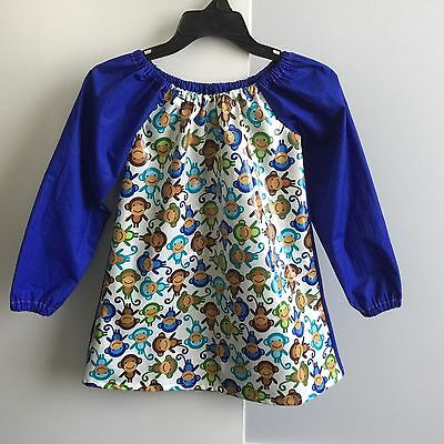 Size 5-7 ~ Handmade Waterproof / Wipe Clean Front Art Smock~ Cheeky Monkey Print