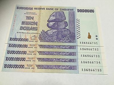 5 x Zimbabwe 10 BILLION Dollar Notes AB/2008 UNC Consecutive Numbers *BARGAIN*