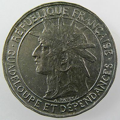 FRANCE. French Guadeloupe 1 Franc, 1921. Uncirculated KM# 46
