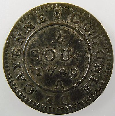 FRANCE. French Guiana, 2 Sous 1789 A, Paris Mint. Louis XVI Colony of Cayenne XF