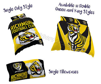 Richmond Tigers 2017 AFL Quilt Cover Doona Single Double Queen King Pillowcase