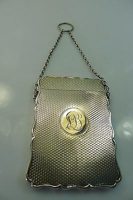 Old Sterling Silver Business Card Box / Case With Carrying Chain & Finger Ring