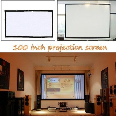 """Portable 100"""" Display 16:9 Aspect Ratio Manual Office Video Projection Screen"""