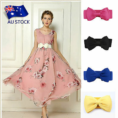 AU STOCK 1PC Women Bowknot Elastic Bow Wide Stretch Buckle Waistband Waist Belt